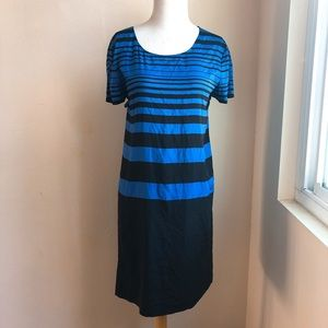 DKNY Silk Colorblock Shift Dress